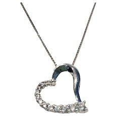"925 Sterling Silver Cz Heart Pendant 16"" Box Chain"