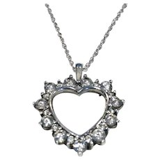 """925 Sterling Silver Cz Heart Pendant 16"""" Double Linked Chain"""