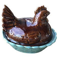 Vintage Green & Brown Pottery Stoneware Chicken on Nest, Egg Holder, Egg Crock.