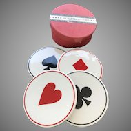 Vintage Restoration Hardware ACE Porcelain Coasters Bridge, Poker, Playing Cards, Porcelain Coasters, Set 4
