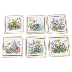 """Set of 6 Pimpernel Traditional Coasters Meadow Flowers Acrylic England 4"""" x 4"""""""