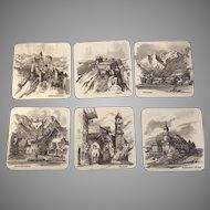 Vintage Set of 6 Schuberth Tamat-Secie Coasters B&W Sketches of German Alps