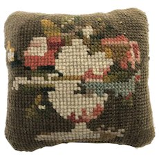 Vintage Embroidered PIN CUSHION Handmade Primitive Pre-1900's