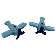 Vintage 1983 Airplane Salt & Pepper Set, Country Blue, Sarsaparilla Deco Design