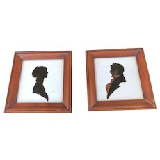 Vintage  Pair Man and Woman Ceramic Silhouette Tiles Framed 1900s Hand Painted Signed