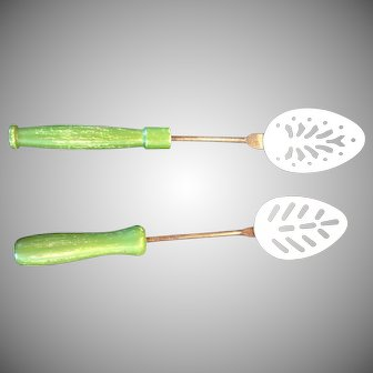 Vintage Childs Toy Pair Kitchenware Green Wooden Handle Serving Spoon, Stainer, 1950's