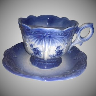 Vintage Moustache Right Handed Tea Cup and Saucer Signed Trafalgaware, Staffordshire, England -  Flow Blue