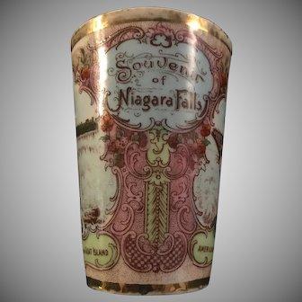 Antique 1904-1918 Souvenir of Niagara Falls, Horseshoe Falls, American Falls, Goat Island, cup by Victoria Austria