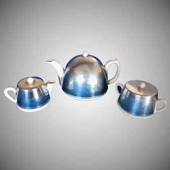 Vintage Art Deco Porcelain  Ironstone, Aluminum  and Bakelite 3 Piece tea Set