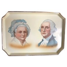 1932 Souvenir George and Martha Washington Dresser Tray Handpainted Textures