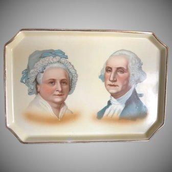 1932 Souvenir George and Martha Washington Dresser Tray Handpainted Textures
