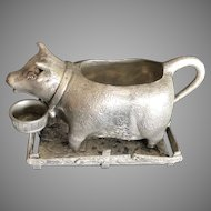 Vintage Figural Cow Creamer with Tray Set Pewter Makers Mark is Present