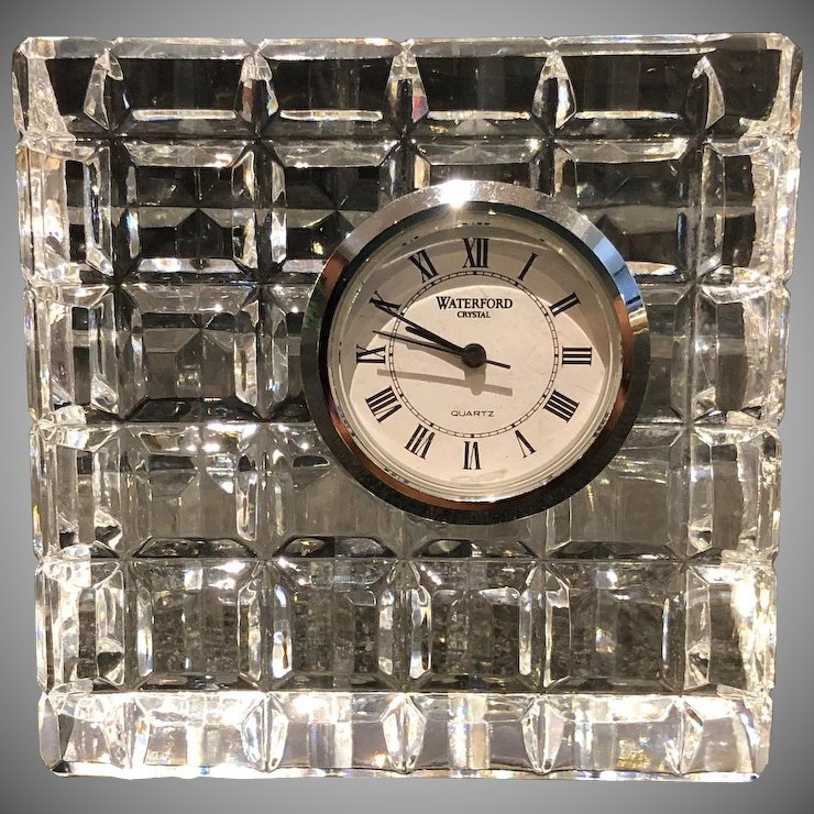 Waterford Crystal Square Desk Clock New Battery Signed
