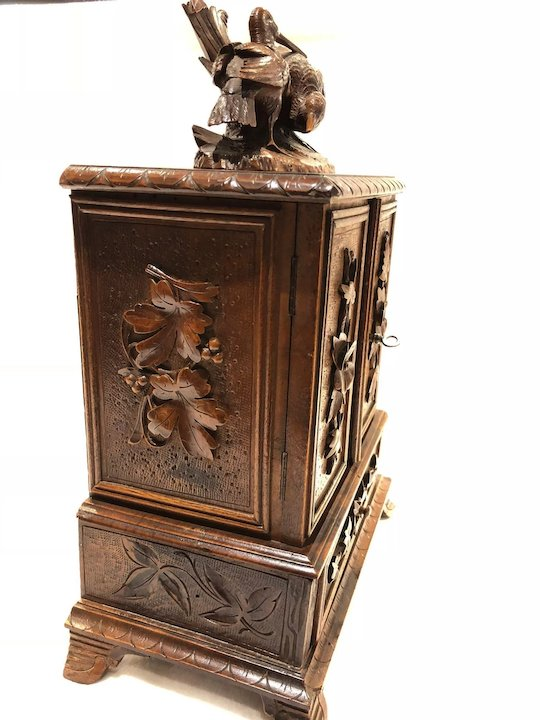 Antique Black Forest Desk Cigar Cabinet, Chest, Box, Presentation Server  Birds - Antique Black Forest Desk Cigar Cabinet, Chest, Box, Presentation