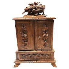 Antique Black Forest Desk Cigar Cabinet, Chest, Box, Presentation Server Birds