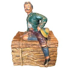 Vintage German Terracotta Tobacco Figural Humidor Man Sitting on Logs 19th Century