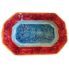 Antique Majolica Platter or Tray with Birds and Flowers, Aqua and Burgundy Circa 1800s