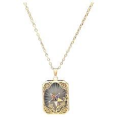 Vintage Camphor Glass Gold Plated Sterling Silver Filigree Eastern Star Pendant Masons Estate Find