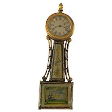 Vintage Banjo Clock Pendant and Brooch Pin Goldtone Metal