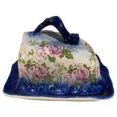 Vintage Flow Blue Covered Cheese Keeper Dish Serpent Handle Roses