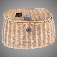 Vintage Wicker Willow Basket Woven Fishing Creel Wonderful, Great Decoration