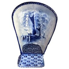 Vintage Delft Beach Chair or Strandkorb, Wicker Design Sailboats, 7  by 4 inches
