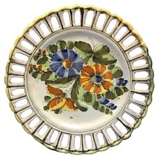 Vintage Decorative Floral Plate Signed Made in Italy E976 Meiselman Imports N.Y.