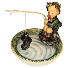 Goebel Hummel Figurine Titled, JUST FISHING, #373 TMK6 Mint Condition, The Boot Edition