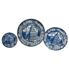 Set of 3 1820s Historical Blue Staffordshire Boston State House Plates
