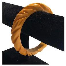 Vintage Dimensional Acrylic or Lucite Carved Mustard Color Bangle Bracelet