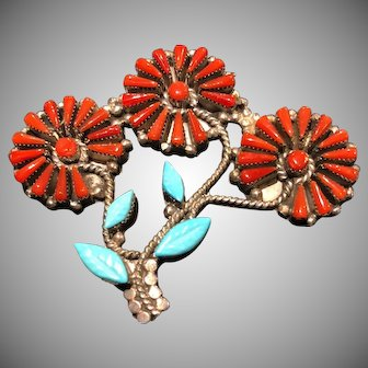Vintage Indian Zuni Sterling, Turquoise and Coral 3 Flower Pin, Brooch and Pendant, Signed