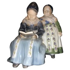 Vintage Royal Copenhagen Amager, Girls Reading Porcelain, Figurine