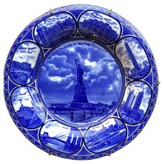 Flow Blue 1906 Staffordshire Souvenir Plate of New York City,  ROWLAND & MARSELLUS Staffordshire England