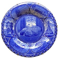 Flow Blue Staffordshire Souvenir Plate of Plymouth Rock, ROWLAND & MARSELLUS Staffordshire England 1906