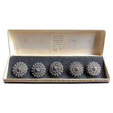 Vtg Set of 5 Intricate Filigree Buttons Peasant Silver Original Box, Siam