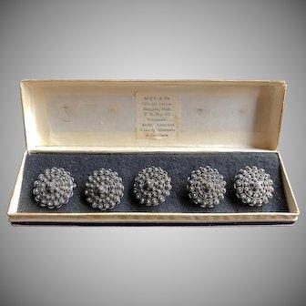 Vtg Set of 5 Intricate Filigree Buttons Peasant Silver Original Box, Siam
