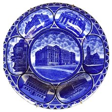 Flow Blue Staffordshire Souvenir Plate of Views of Newark, N.J. ROWLAND & MARSELLUS 1906