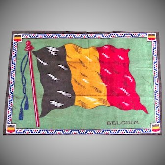 Antique 1910's Tobacco Felt Large Flag Belgium 11 Inches by 8 Inches Very Good Condition