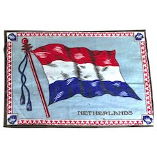 Antique 1910's Tobacco Felt Large Flag The Netherlands 11 Inches by 8 Inches Very Good condition