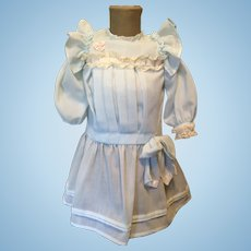 Pale Blue Dress for Large German or French Bisque Doll