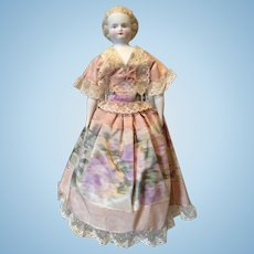 Blonde Parian China Head with Moire Silk Dress