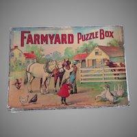 Early Farmyard Puzzle Box by Milton Bradley Company