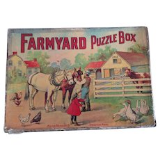 Early Farmyard Puzzle Box by Milton Bradley Company