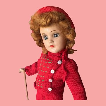 Composition Red Haired Mary Hoyer Doll with Skiing Outfit