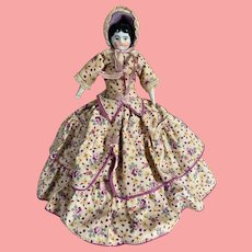 German Hertwig China Head in Fabulous Dress and Bonnet