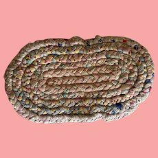 Early Vintage Multi-colored Braided Rag Rug for Dollhouse