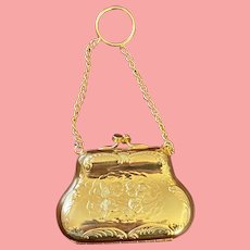 Vintage Harry Rosenfeld Chatelaine Style Gold Metal Coin Purse
