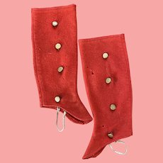 Child's or Dolls Victorian Red Wool Spats