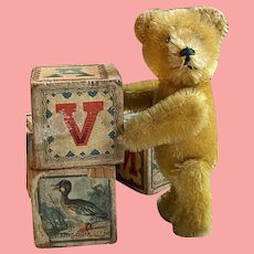 Wonderful Rare Golden Mohair Schuco Bear Perfume Bottle