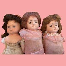 Three Papier-Mache Dolls for Repair or Parts